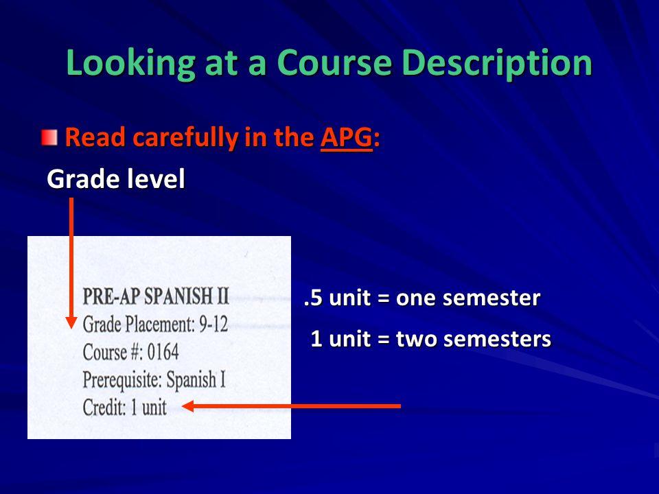 Looking at a Course Description