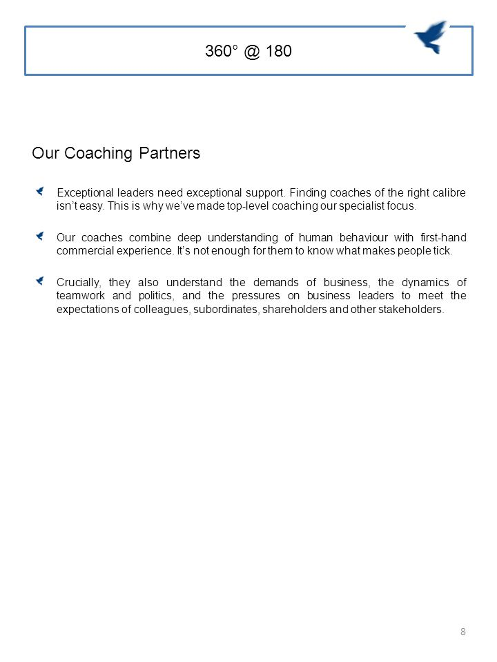 360° @ 180 Our Coaching Partners