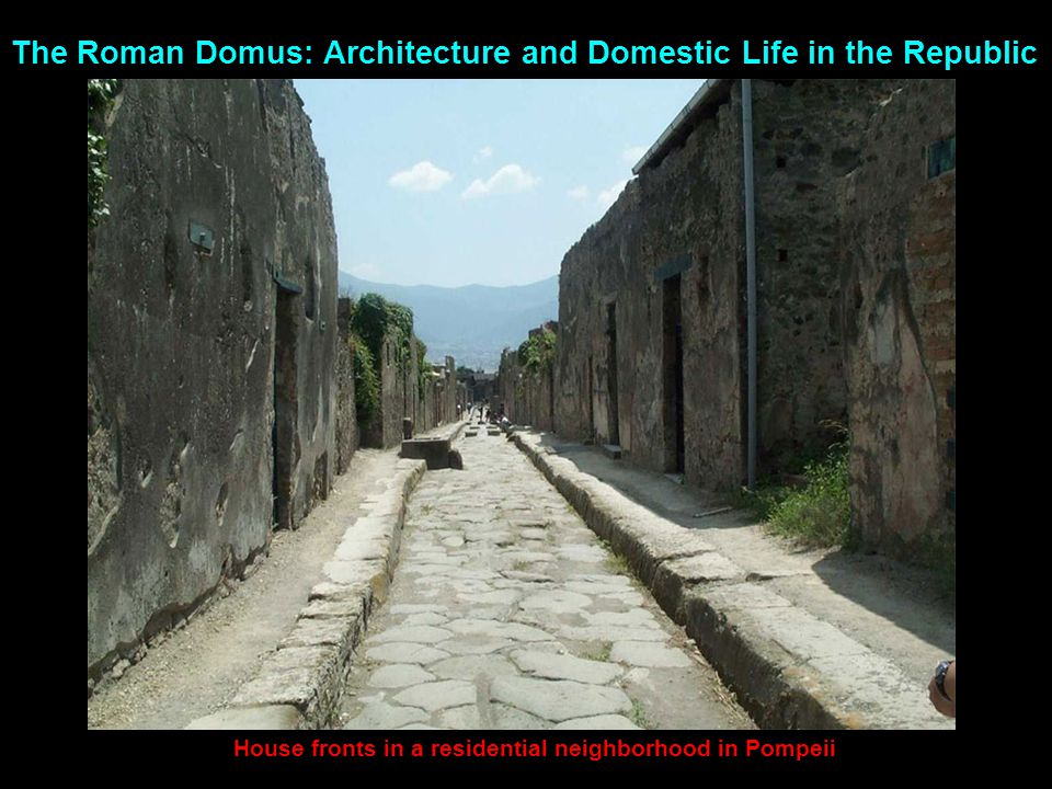 House fronts in a residential neighborhood in Pompeii