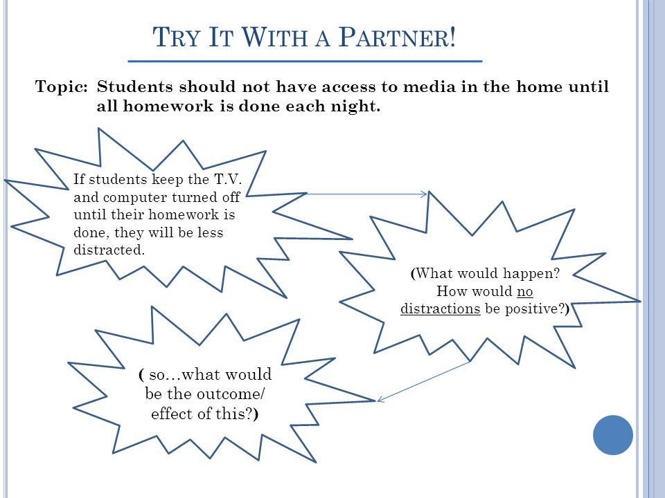 Try It With a Partner! Topic: Students should not have access to media in the home until. all homework is done each night.