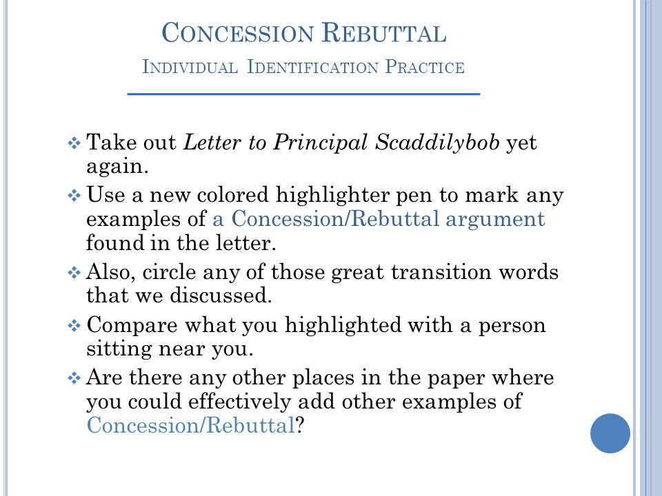 Concession Rebuttal Individual Identification Practice