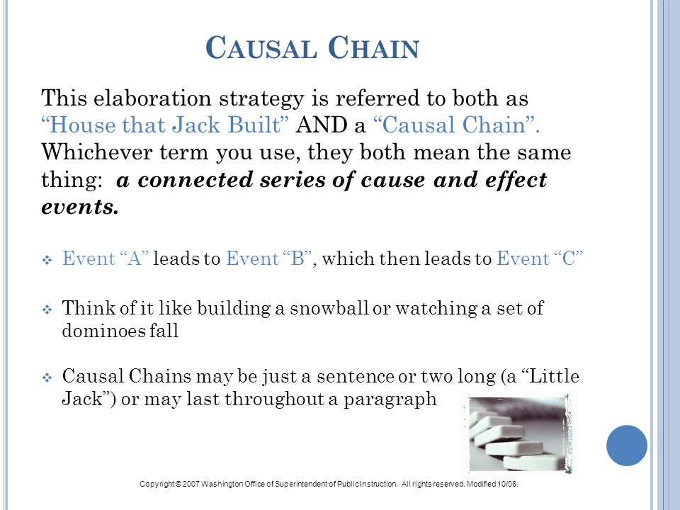 Causal Chain This elaboration strategy is referred to both as