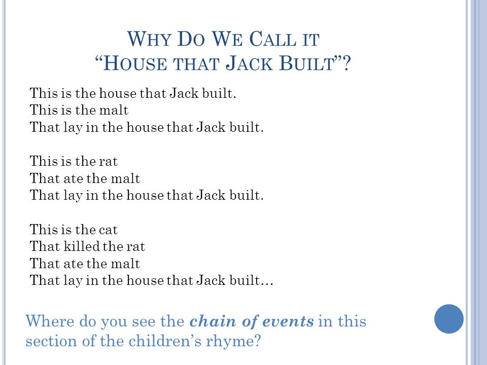 Why Do We Call it House that Jack Built