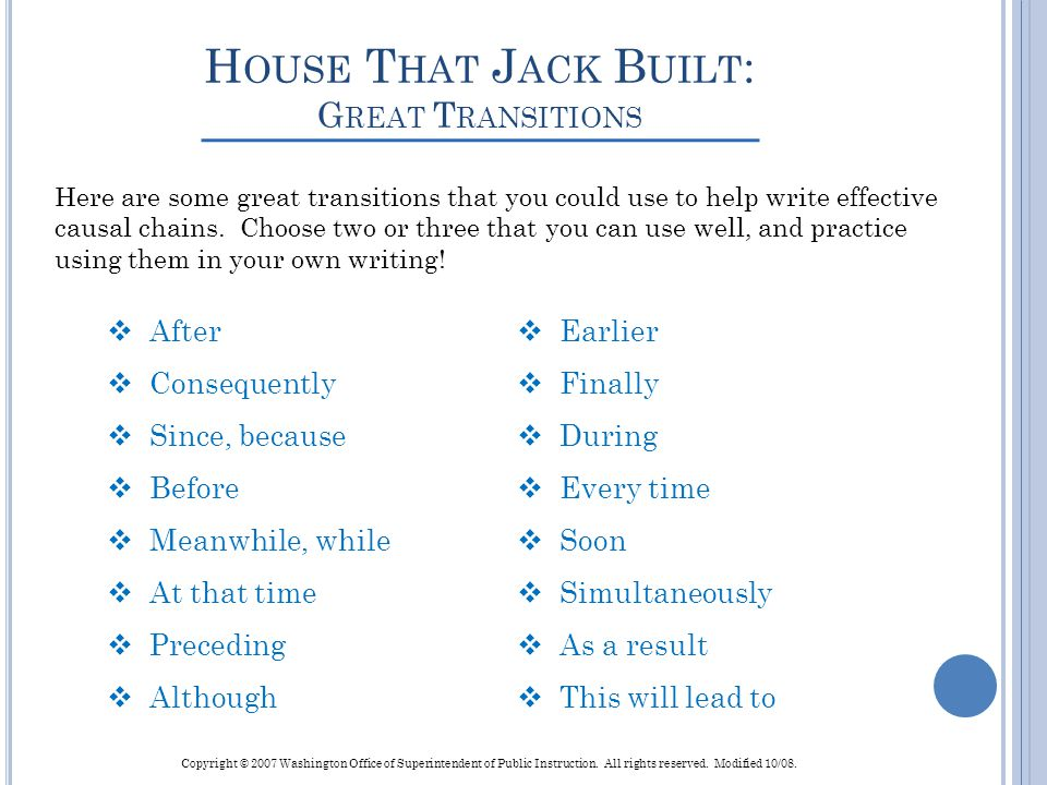 House That Jack Built: Great Transitions
