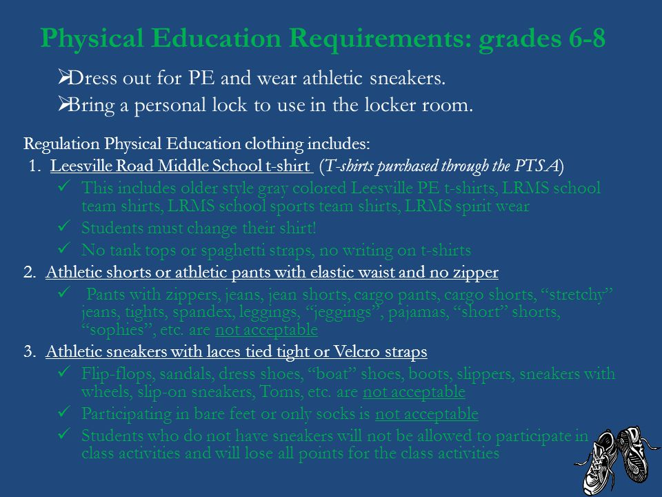 Physical Education Requirements: grades 6-8