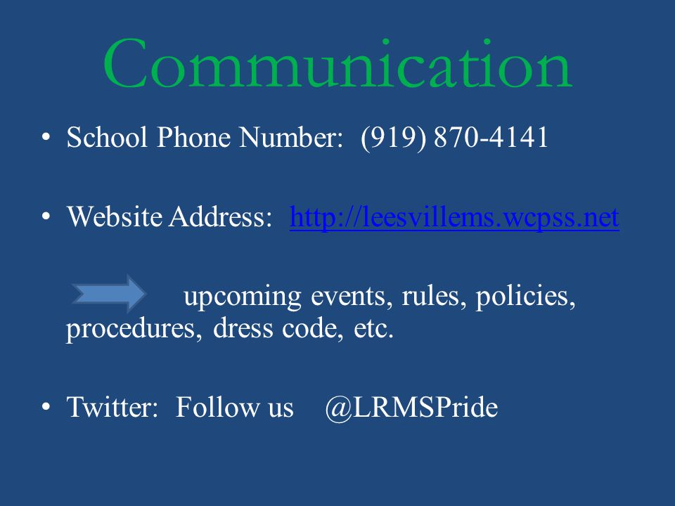 Communication School Phone Number: (919) 870-4141