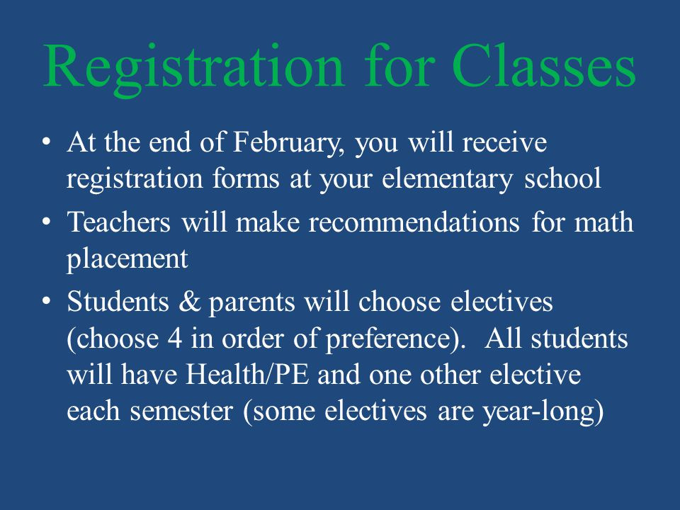 Registration for Classes