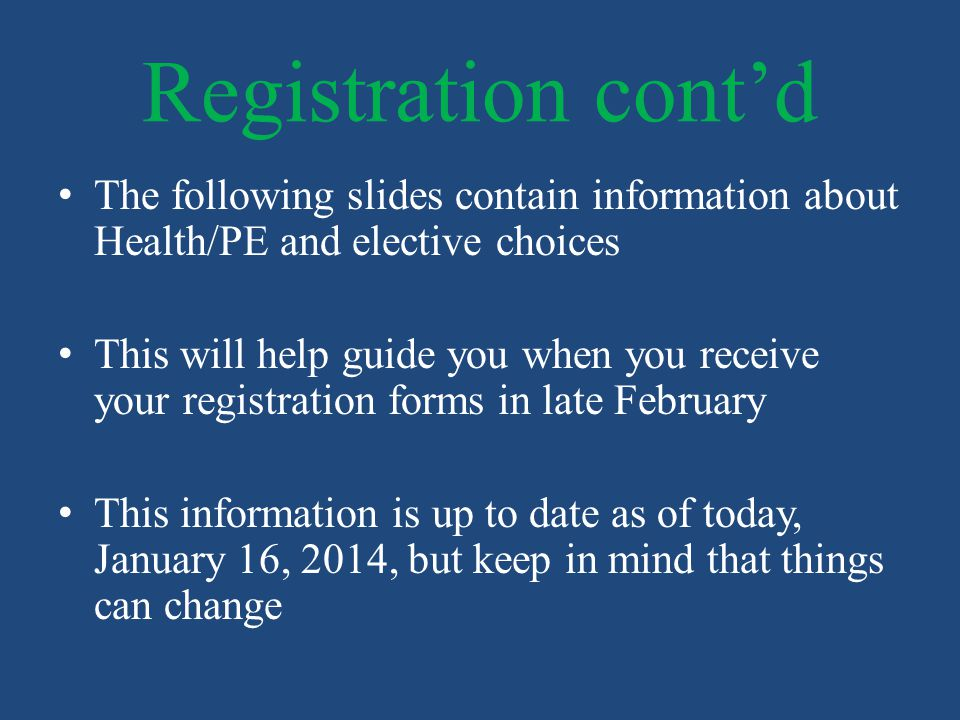 Registration cont'd The following slides contain information about Health/PE and elective choices.