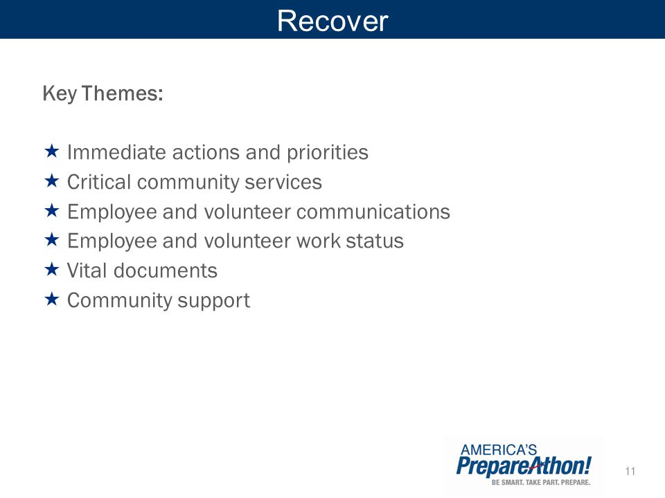 Recover Key Themes: Immediate actions and priorities