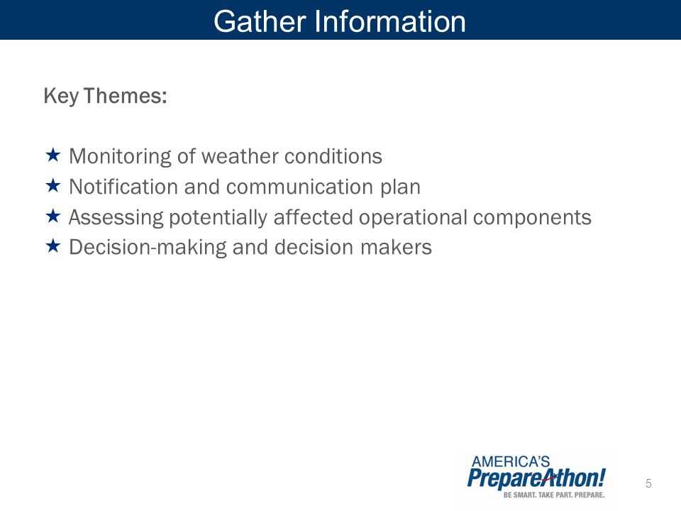 Gather Information Key Themes: Monitoring of weather conditions
