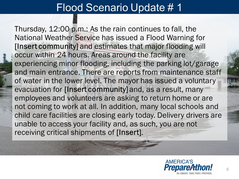 Flood Scenario Update # 1