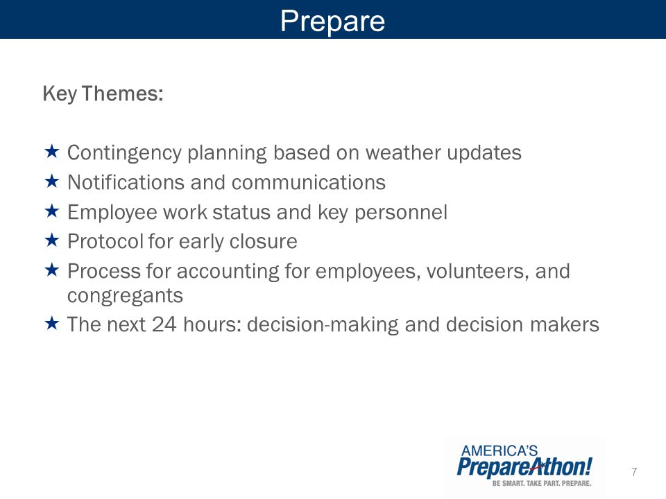 Prepare Key Themes: Contingency planning based on weather updates