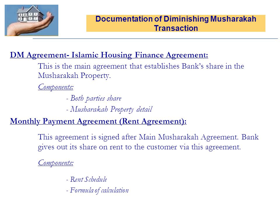 Documentation of Diminishing Musharakah Transaction