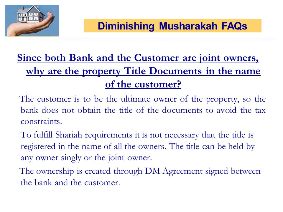 Diminishing Musharakah FAQs