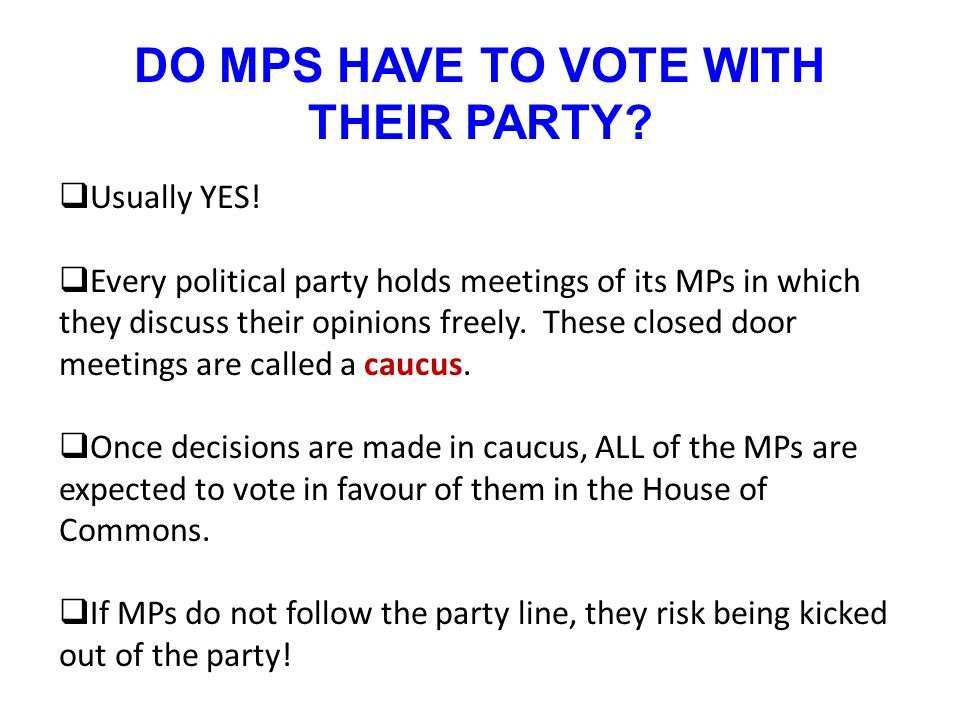DO MPS HAVE TO VOTE WITH THEIR PARTY