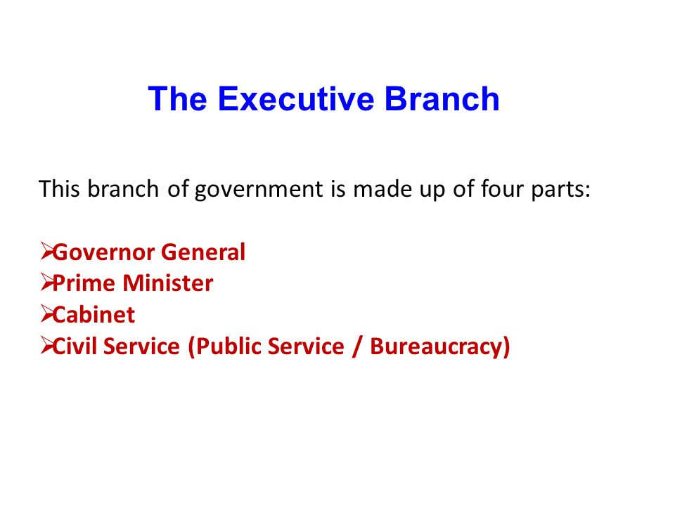 The Executive Branch This branch of government is made up of four parts: Governor General. Prime Minister.