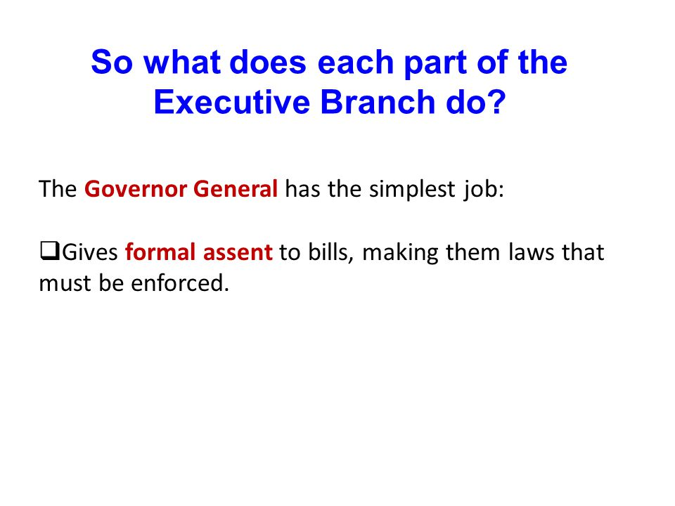 So what does each part of the Executive Branch do