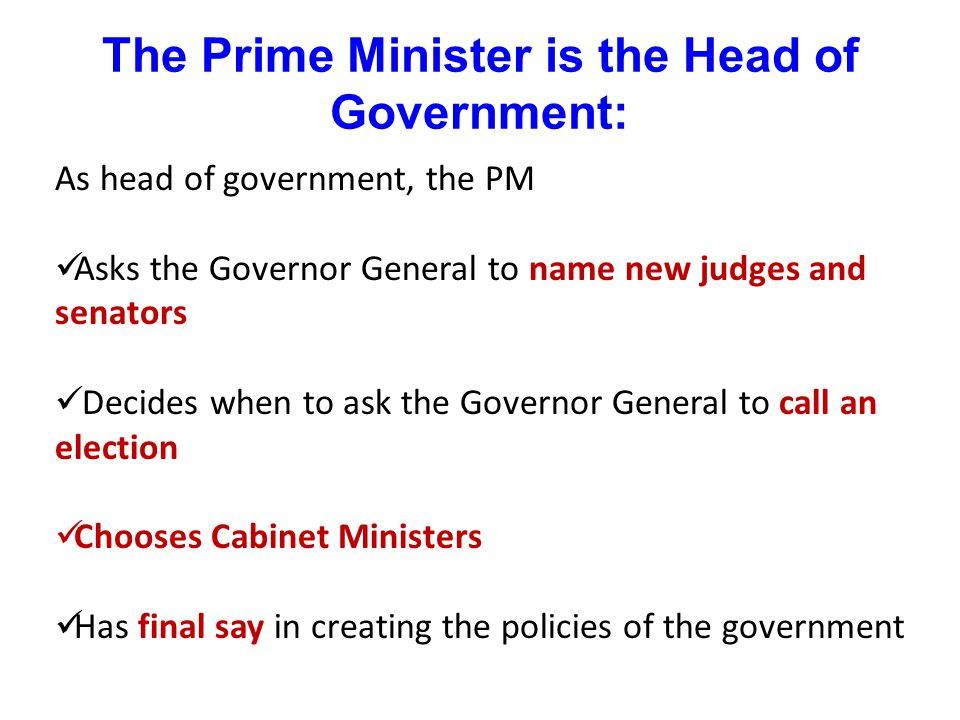 The Prime Minister is the Head of Government: