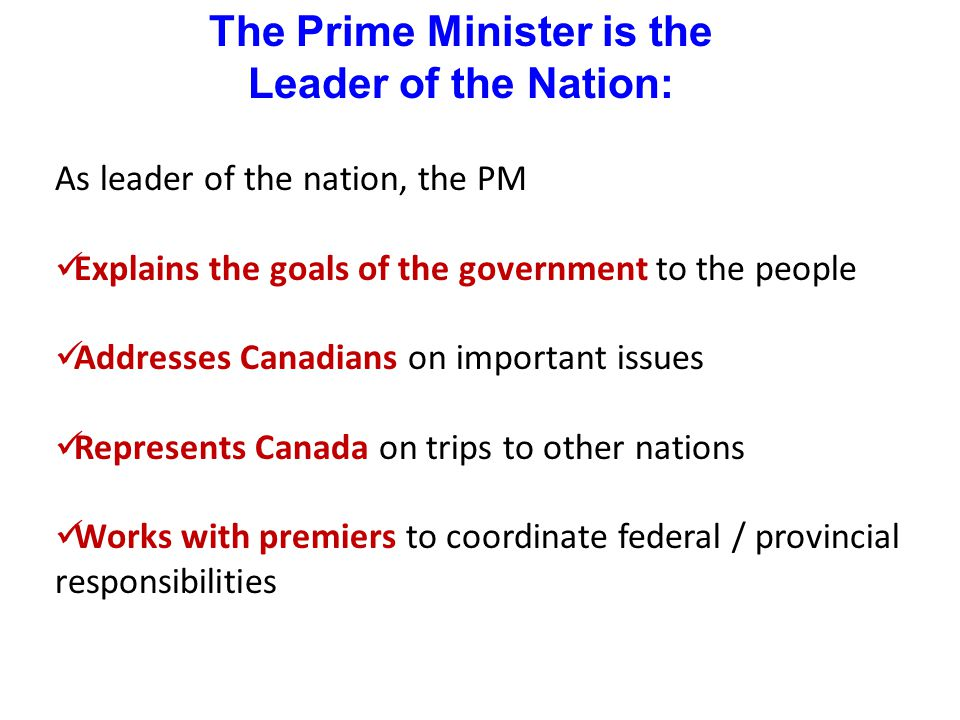 The Prime Minister is the Leader of the Nation: