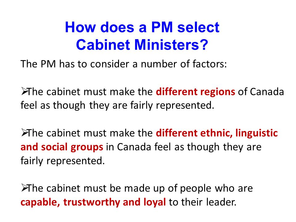 How does a PM select Cabinet Ministers