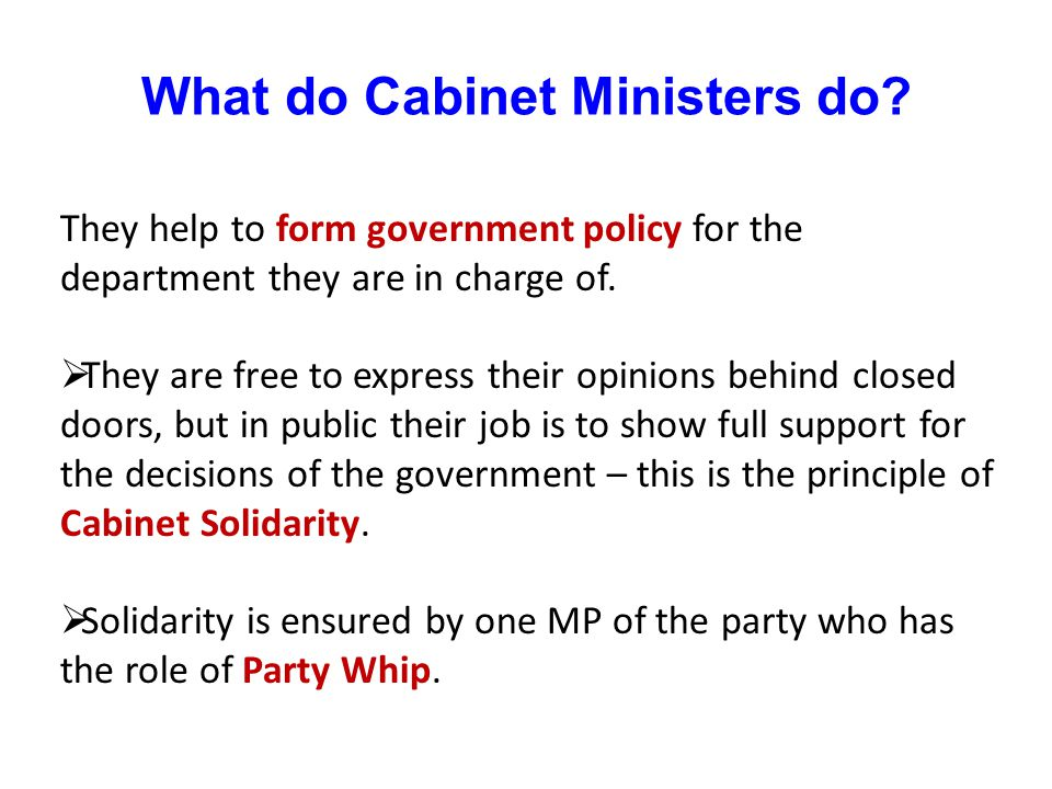 What do Cabinet Ministers do