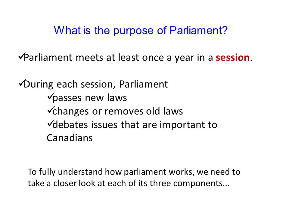 What is the purpose of Parliament