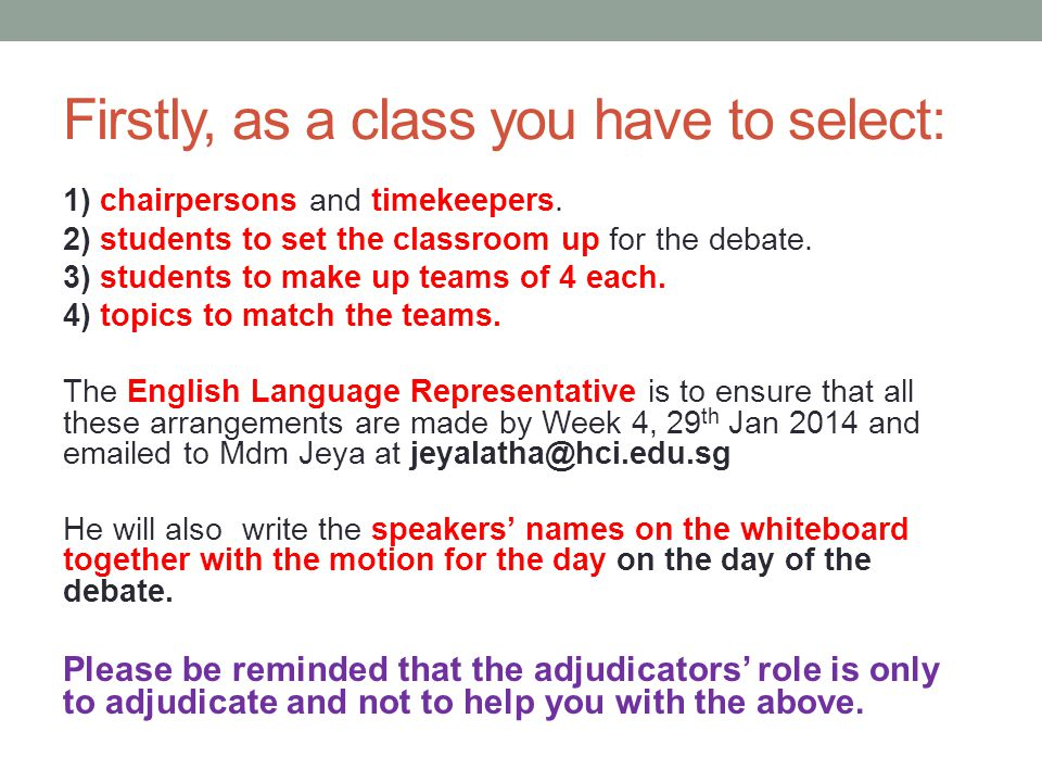 Firstly, as a class you have to select:
