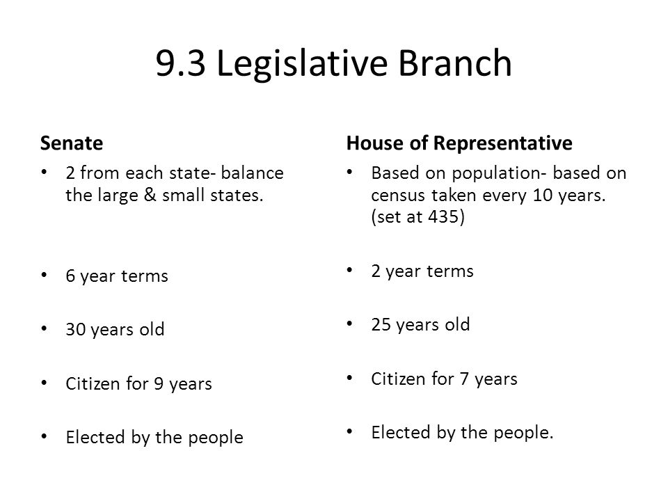 9.3 Legislative Branch Senate House of Representative
