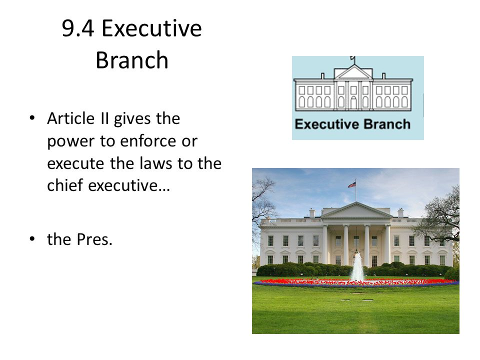 9.4 Executive Branch Article II gives the power to enforce or execute the laws to the chief executive…