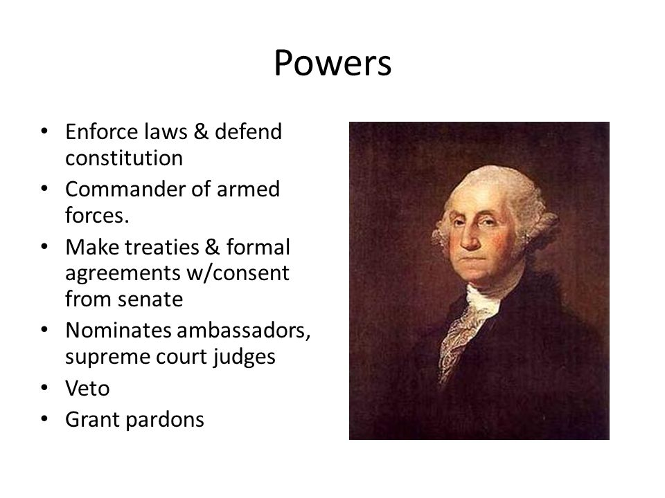Powers Enforce laws & defend constitution Commander of armed forces.