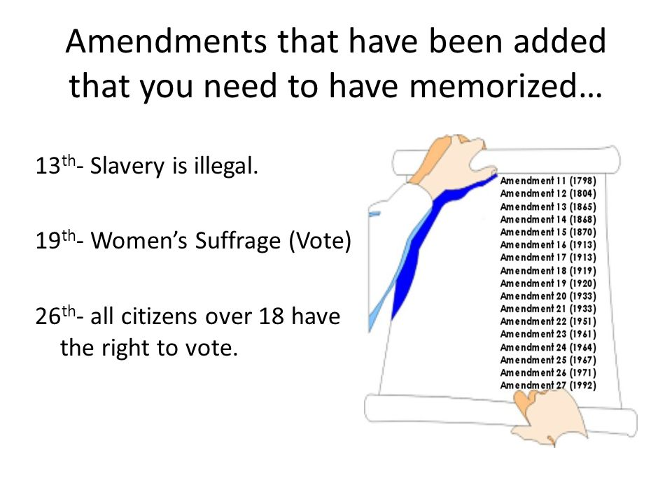 Amendments that have been added that you need to have memorized…