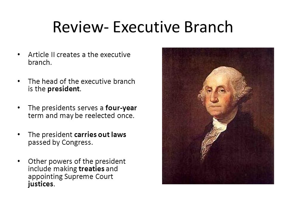 Review- Executive Branch
