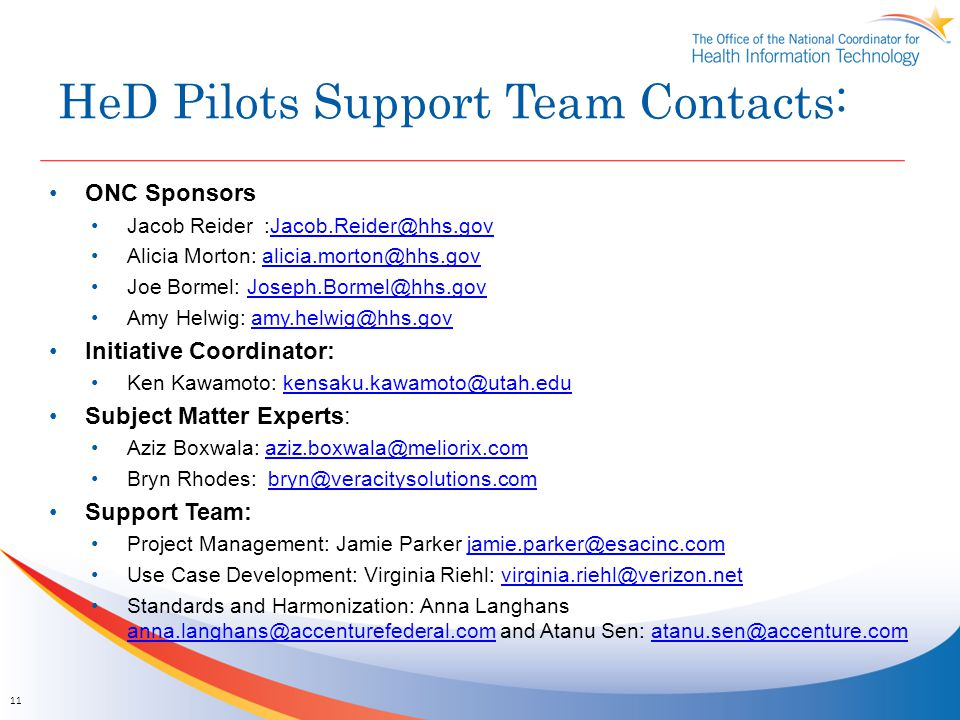 HeD Pilots Support Team Contacts:
