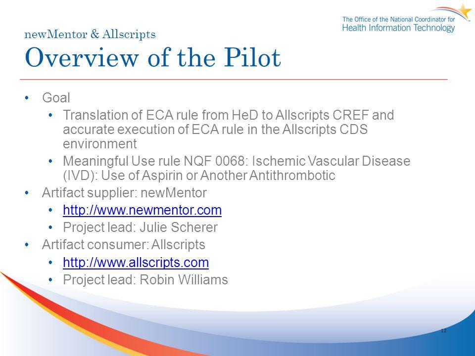 newMentor & Allscripts Overview of the Pilot