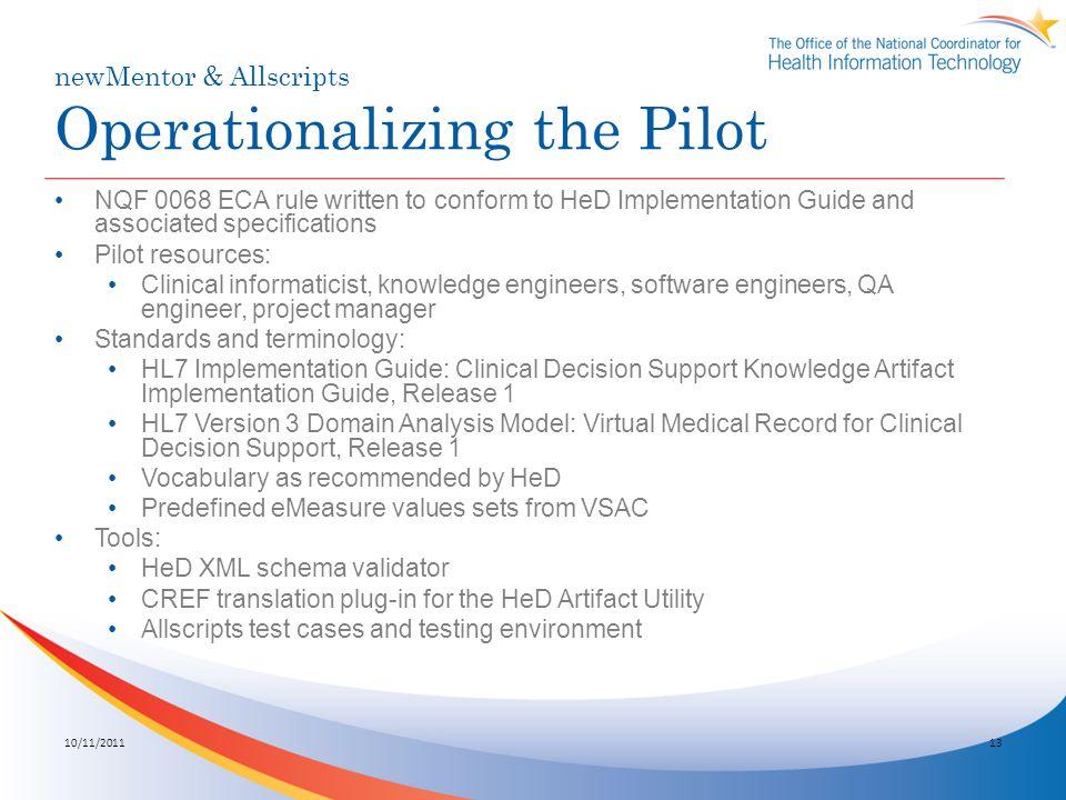 newMentor & Allscripts Operationalizing the Pilot
