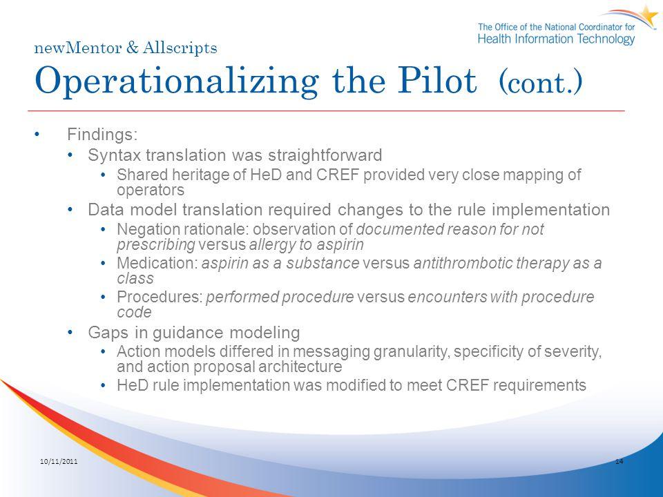 newMentor & Allscripts Operationalizing the Pilot (cont.)