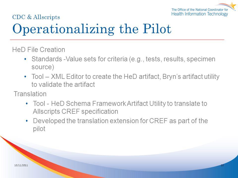 CDC & Allscripts Operationalizing the Pilot