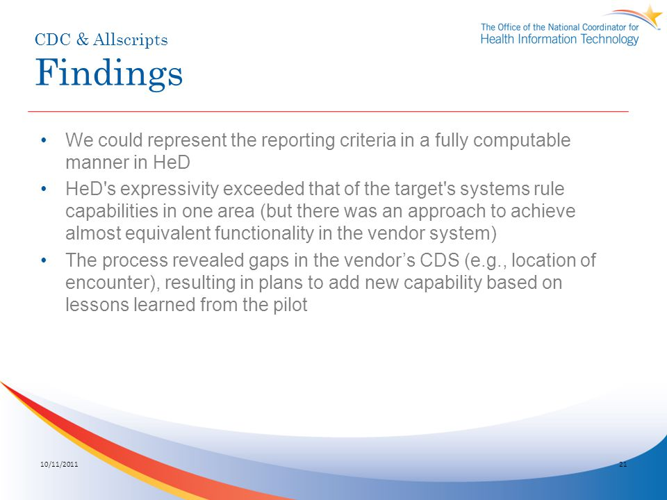 CDC & Allscripts Findings