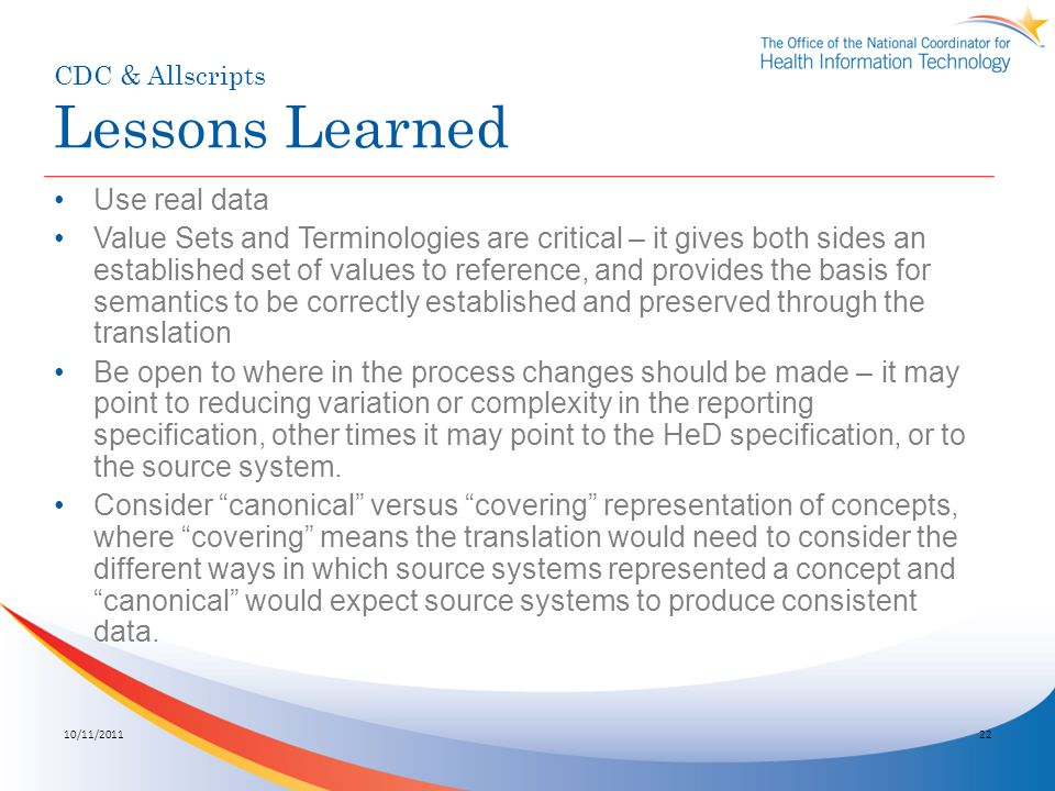 CDC & Allscripts Lessons Learned