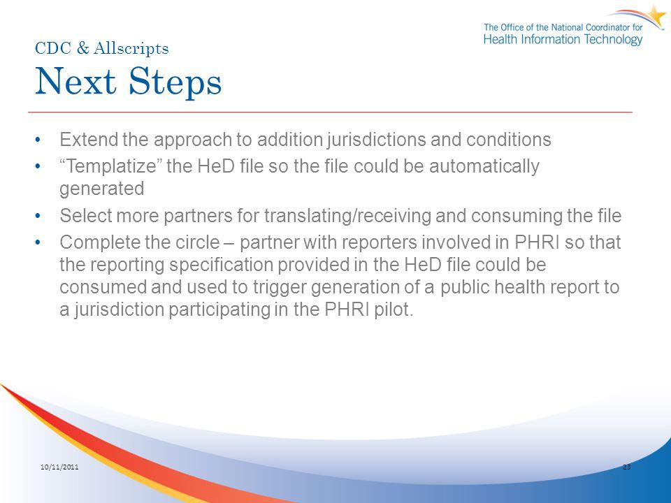 CDC & Allscripts Next Steps