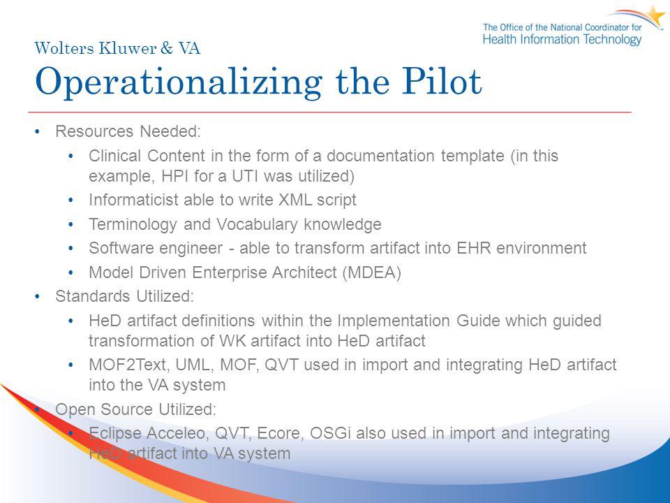 Wolters Kluwer & VA Operationalizing the Pilot