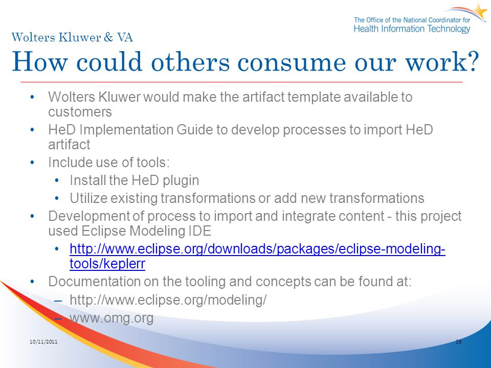 Wolters Kluwer & VA How could others consume our work