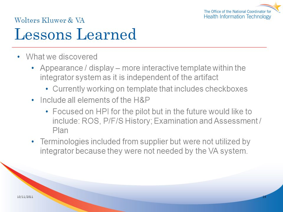 Wolters Kluwer & VA Lessons Learned