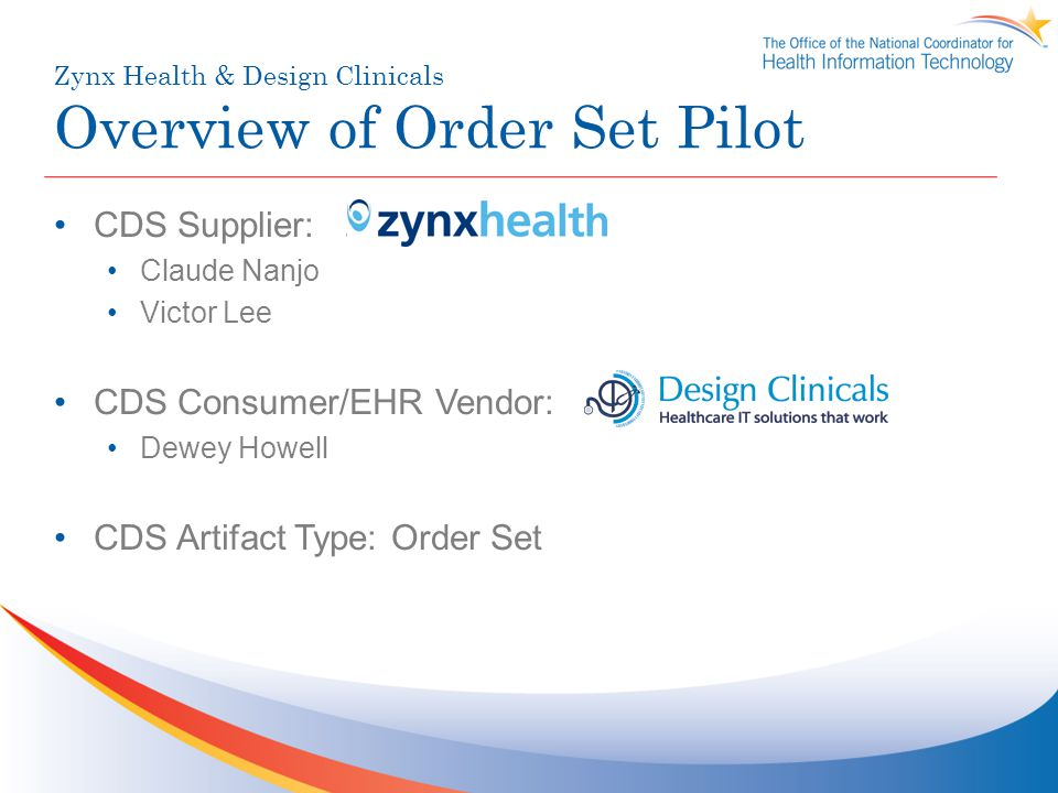 Zynx Health & Design Clinicals Overview of Order Set Pilot