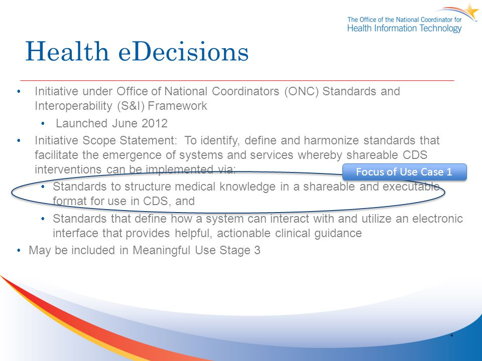 Health eDecisions Initiative under Office of National Coordinators (ONC) Standards and Interoperability (S&I) Framework.