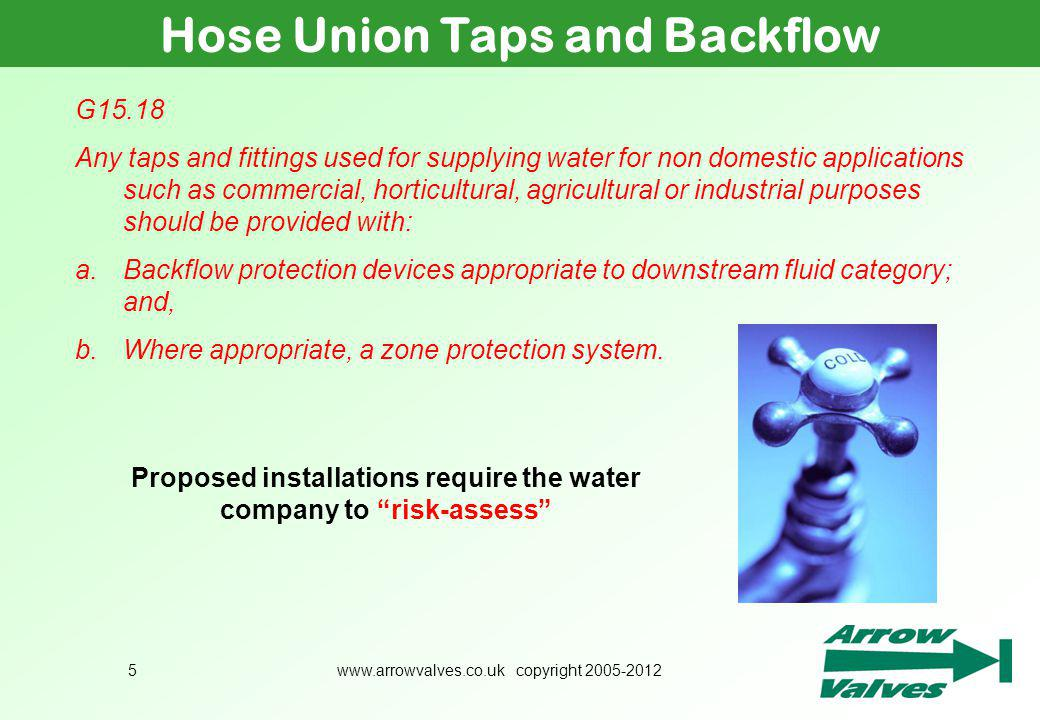 Hose Union Taps and Backflow