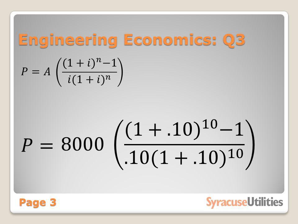 Engineering Economics: Q3