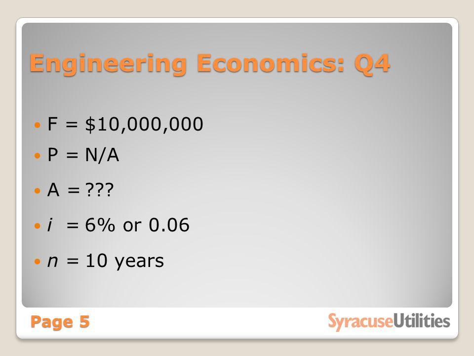 Engineering Economics: Q4