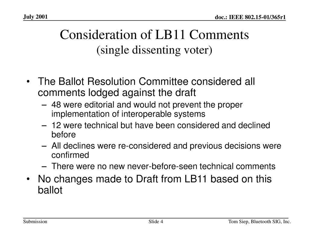Consideration of LB11 Comments (single dissenting voter)