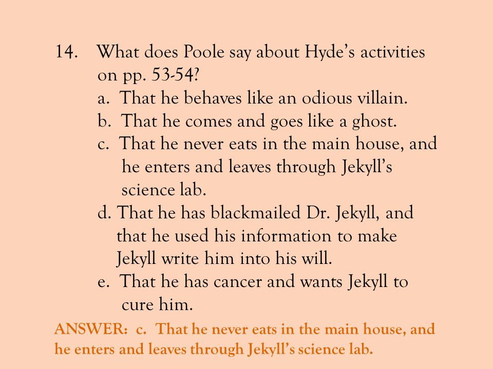 What does Poole say about Hyde's activities on pp. 53-54